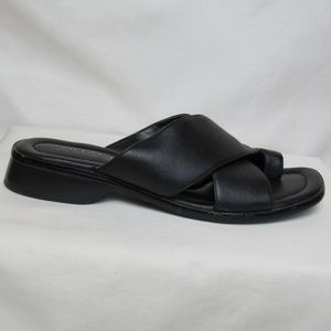 VTG Black Leather Crossover Strap 90s Sandals